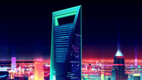 Shanghai World Financial Center Aat night - Futuristic art wallpaper
