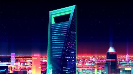 Shanghai World Financial Center Aat night - Futuristic art wallpaper