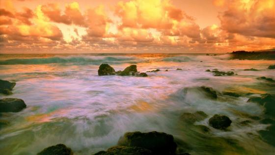 Orange sky Hawaiian beach wallpaper