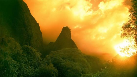 Golden Sunrise and Green Mountains wallpaper