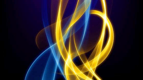 Royal blue and gold lines wallpaper