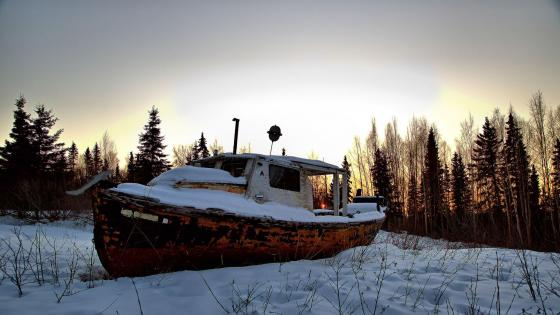 Snowy boat in Alaska wallpaper