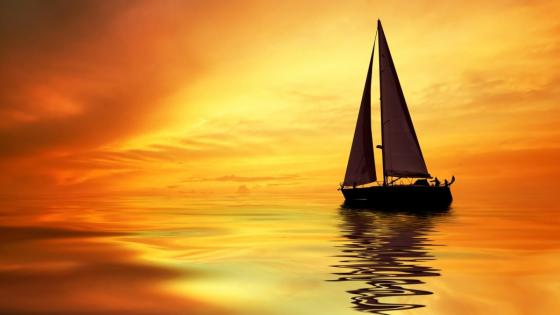 Sailing boat on the calm water wallpaper