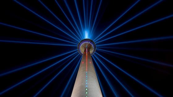 TV Tower Dusseldorf at night wallpaper