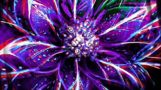 Purple flower digital art wallpaper