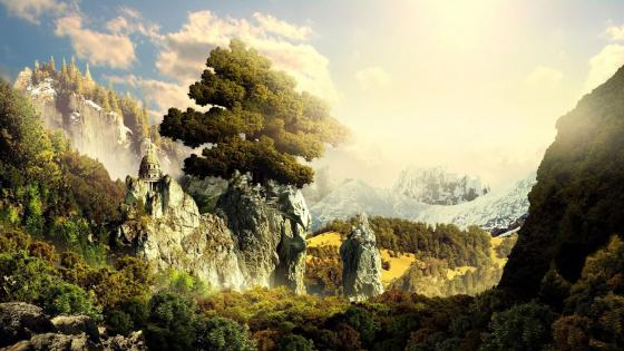Epic fantasy landscape wallpaper