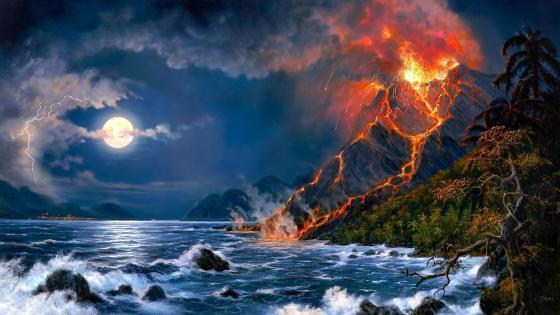 Volcano eruption - Fantasy art  wallpaper
