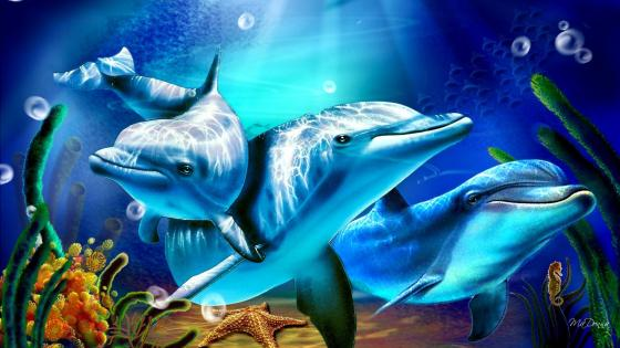 Dolphins - Fantasy art wallpaper