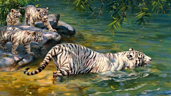 Bengal tigers painting art wallpaper