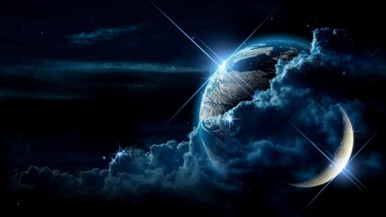 Earth and moon space art wallpaper