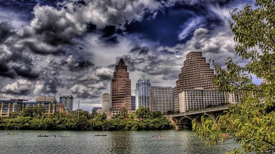 Austin with stormy clouds wallpaper