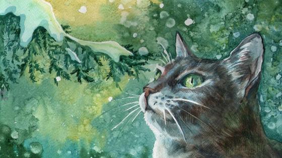 Cat illustration wallpaper