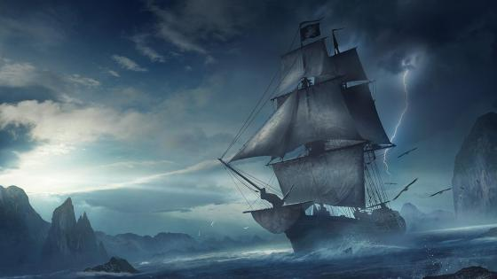 ‍☠️ Pirate ship at sea - Fantasy art wallpaper