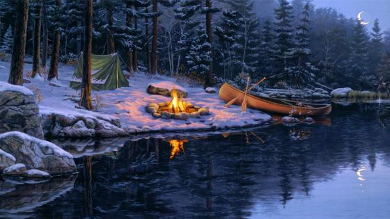 Winter campfire painting art wallpaper