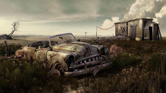 Wreck in the farm wallpaper