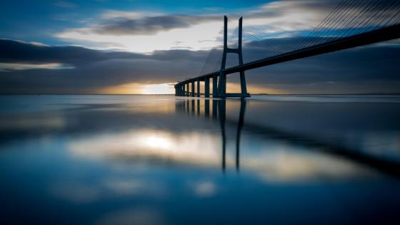Vasco da Gama Bridge at sunrise wallpaper