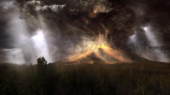 Volcano eruption - Fantasy art  wallpaper