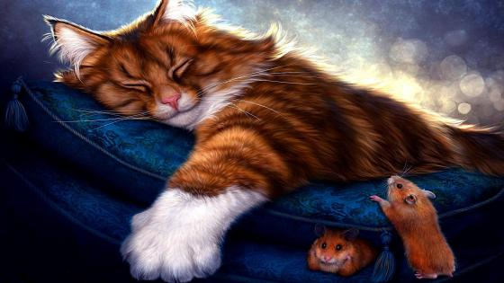 Cat sleeping with mice painting art wallpaper