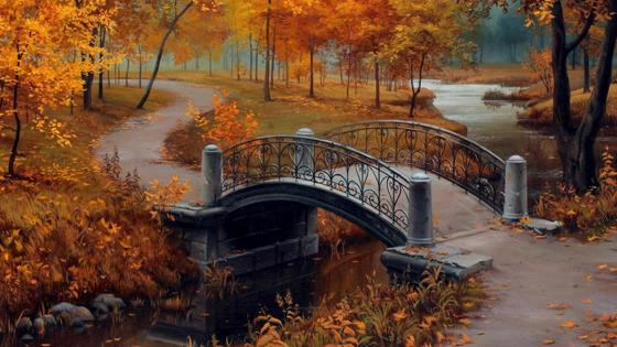 Autumn in the park - Painting art wallpaper