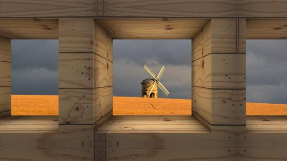 Windmill in the cornfield wallpaper