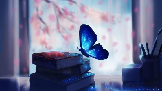Butterfly on the books wallpaper