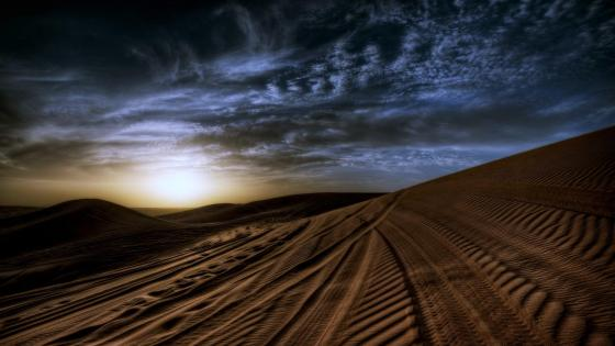 Darkness is comming in the desert wallpaper