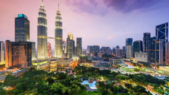 Kuala Lumpur city centre at the evening, Malaysia   wallpaper