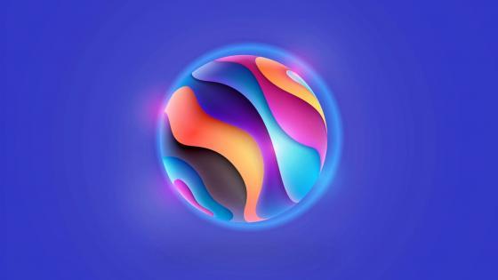 Electric blue ball wallpaper