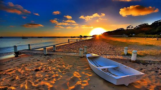 Sunset on the beach wallpaper