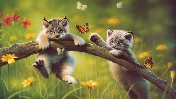 Wild cats - Painting art wallpaper