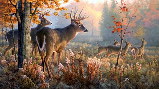 Deers in the forest - Nature painting art wallpaper