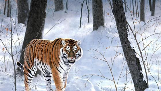 Siberian Tiger in the snowy forest - Painting art wallpaper