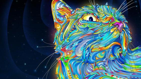 Colorful cat design wallpaper