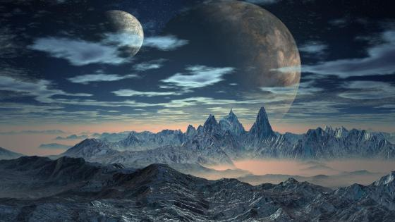 Mountain range with two huge moon - Fantasy art wallpaper
