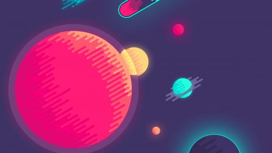 Minimalist outer space - Flat Design  wallpaper