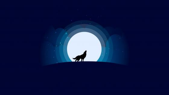 Wolf with full moon - minimalist design wallpaper