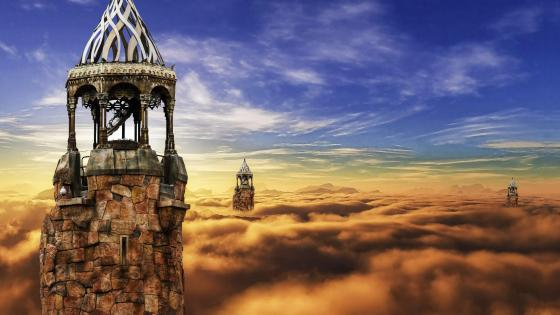 Fantasy castle above the clouds  wallpaper