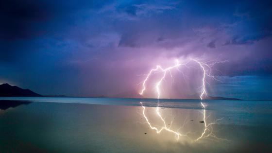 Lightning storm in the night sky  wallpaper