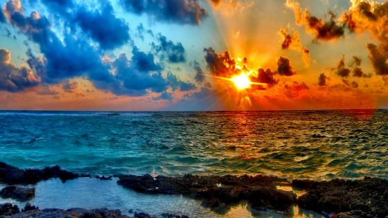 Sunset over the sea  wallpaper