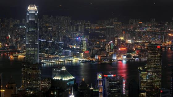 Victoria Harbour at night, Hong Kong wallpaper
