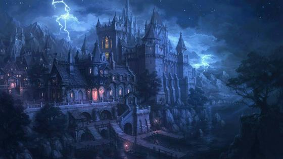 Fantasy art: Scary castle  wallpaper
