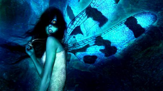 Blue fairy with black hair wallpaper