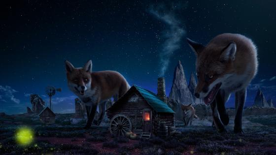 Giant red fox in a little village - Fantasy art wallpaper