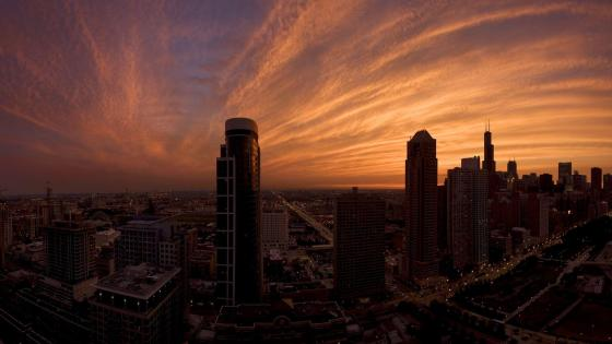Skyscrapers in the sunset - Fisheye photography wallpaper