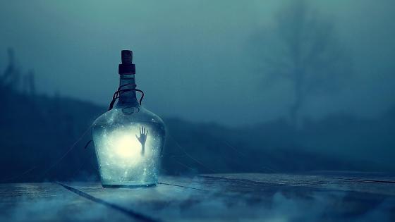Hand in the bottle wallpaper