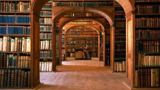 Library with antique books wallpaper