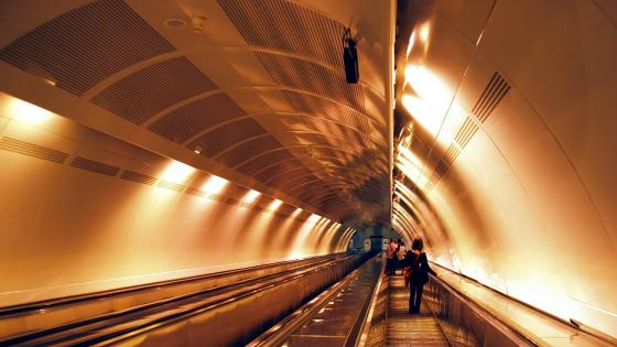 Underground subway escalator wallpaper