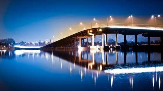 Floating Bridge - William R. Bennett Bridge at night wallpaper