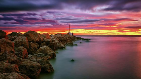 Sunset over the Mediterranean Sea, Valencia, Spain wallpaper