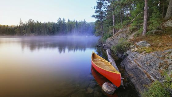 Canoe at the lakeside wallpaper